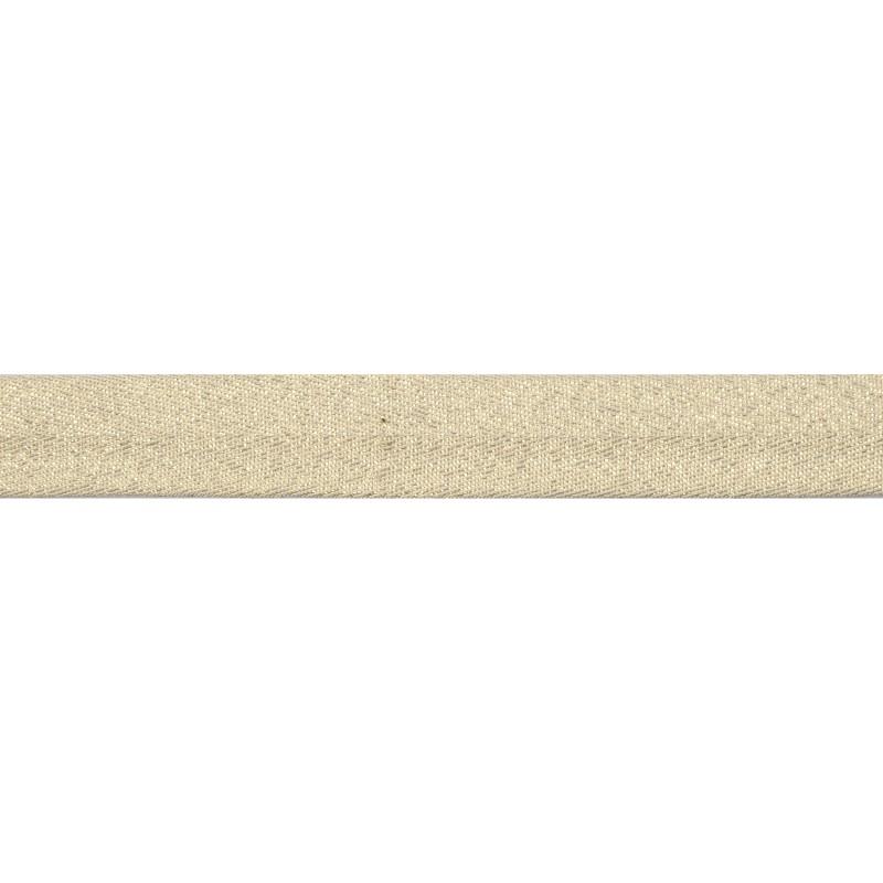 Тесьма киперная хлопок/люрекс 2 см/рулон 43-45м,цв:молочный/люрекс золото