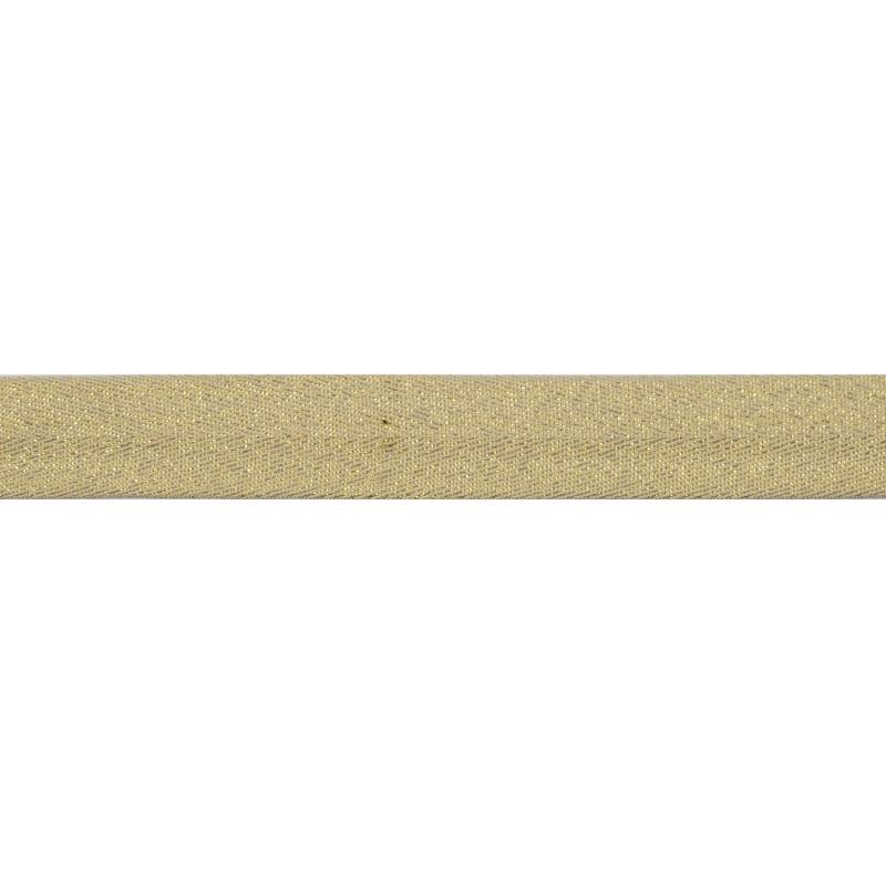 Тесьма киперная хлопок/люрекс 2 см/рулон 43-45м, цв:бежевый/люрекс золото