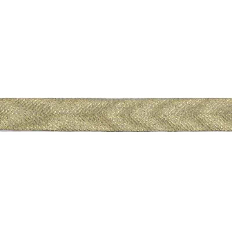 Тесьма киперная хлопок/люрекс 2 см/рулон 43-45м,цв: серый/люрекс золото