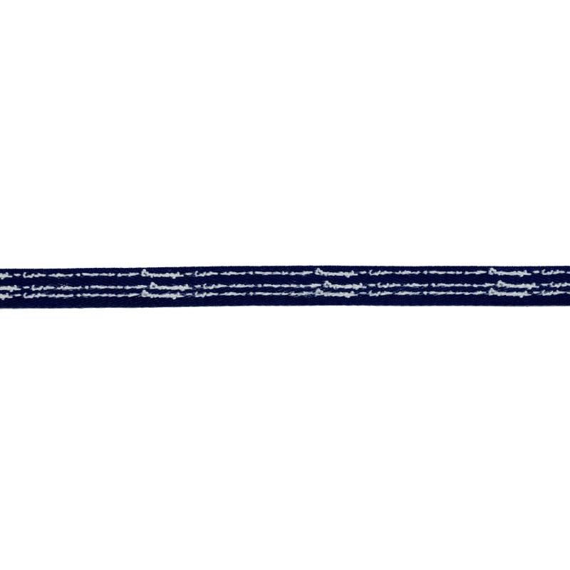 Тесьма киперная полиэстер/принт 1см 43-45м/рулон, цв:т.синий/принт белый