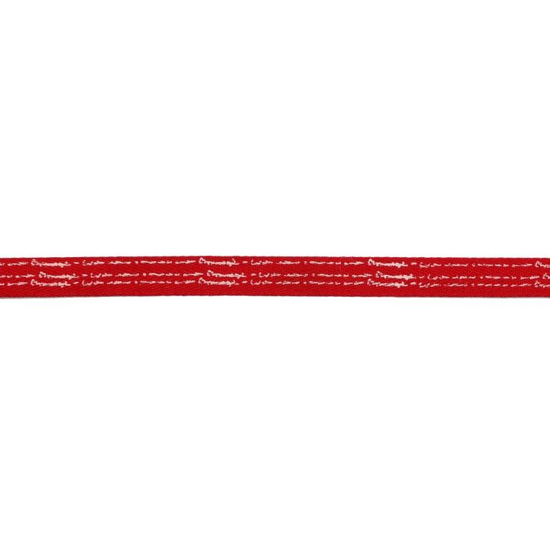 Тесьма киперная полиэстер/принт 1см 43-45м/рулон, цв:красный/принт белый
