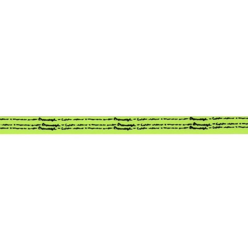 Тесьма киперная полиэстер/принт 1см 43-45м/рулон, цв:салатовый/принт черный