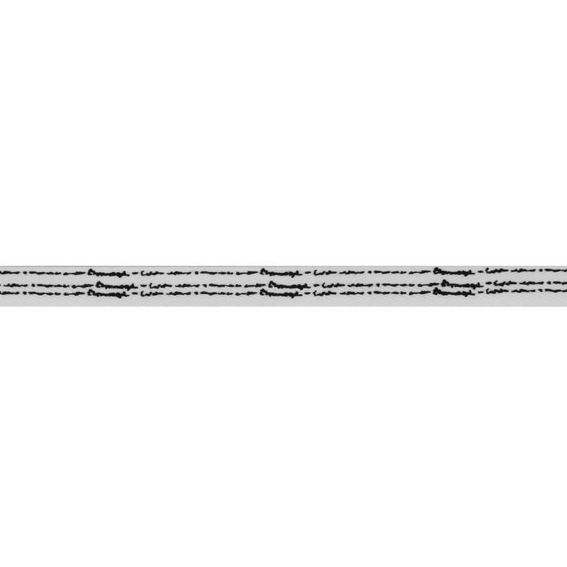 Тесьма киперная полиэстер/принт 1см 43-45м/рулон, цв:белый/принт черный