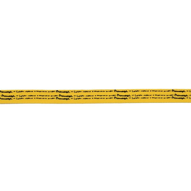 Тесьма киперная полиэстер/принт 1см 43-45м/рулон, цв:желтый/принт черный
