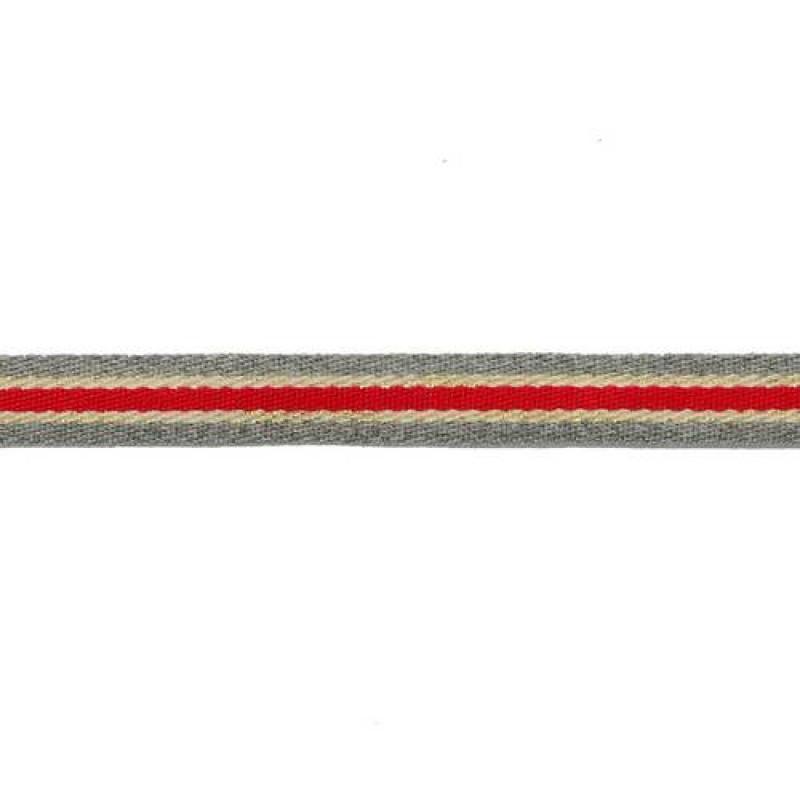 Тесьма сутаж/люрекс 1см 43-45м/рулон, цв:серый/красный/бежевый