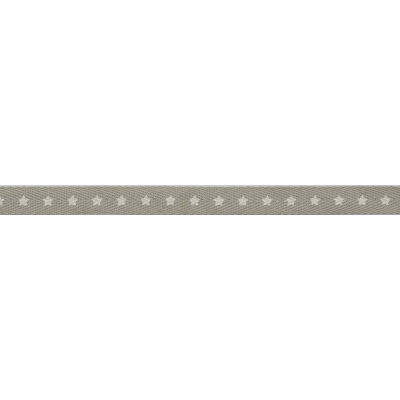 Тесьма киперная 1см, принт ЗВЕЗДЫ 43-45м/рул, цв: серый