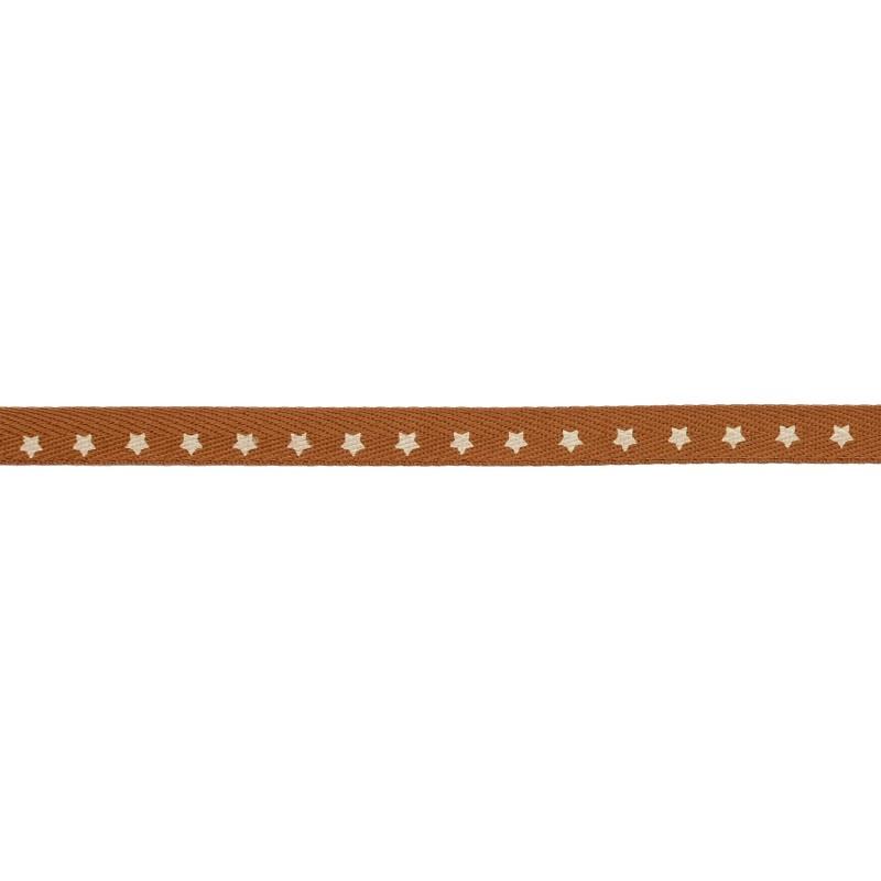 Тесьма киперная 1см, принт ЗВЕЗДЫ 43-45м/рул, цв: коричневый