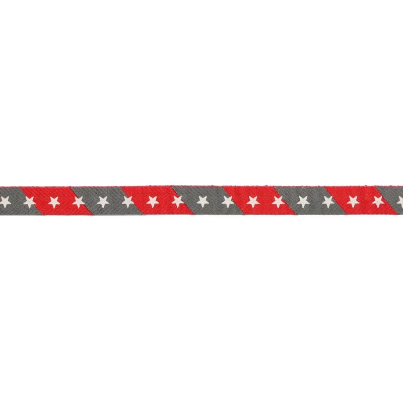 Тесьма киперная 1см полиэстер/принт ЗВЕЗДЫ 43-45м/рулон, цв:серый/красный/принт белый