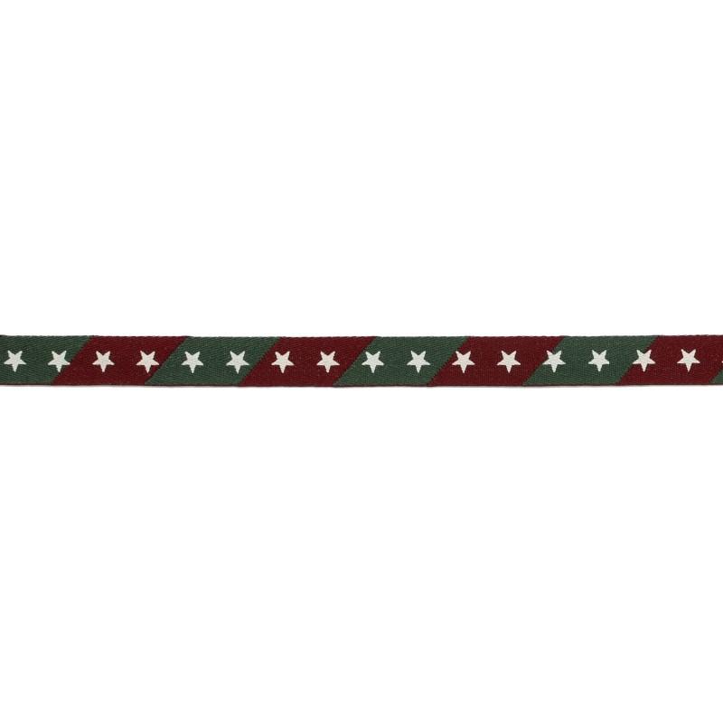 Тесьма киперная 1см полиэстер/принт ЗВЕЗДЫ 43-45м/рулон, цв:бордовый/зеленый/принт белый