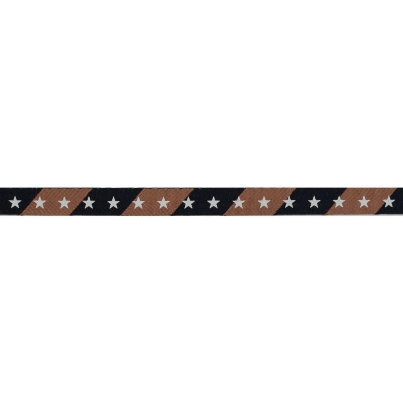 Тесьма киперная 1см полиэстер/принт ЗВЕЗДЫ 43-45м/рулон, цв:коричневый/синий/принт белый