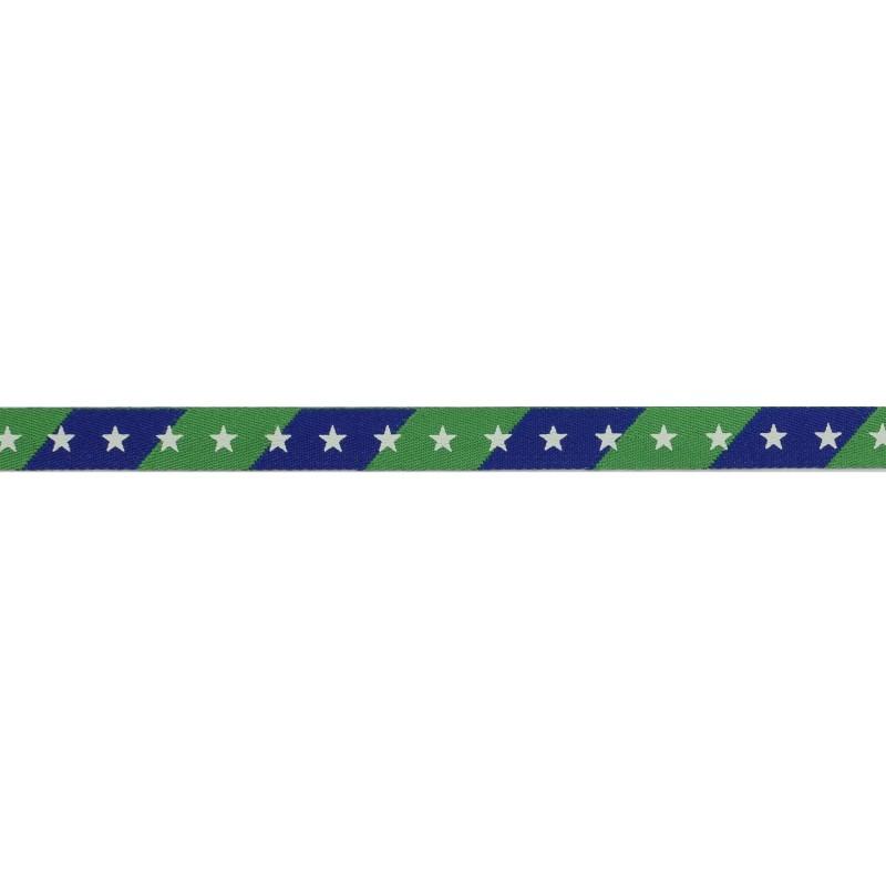 Тесьма киперная 1см полиэстер/принт ЗВЕЗДЫ 43-45м/рулон, цв:синий/зеленый/принт белый