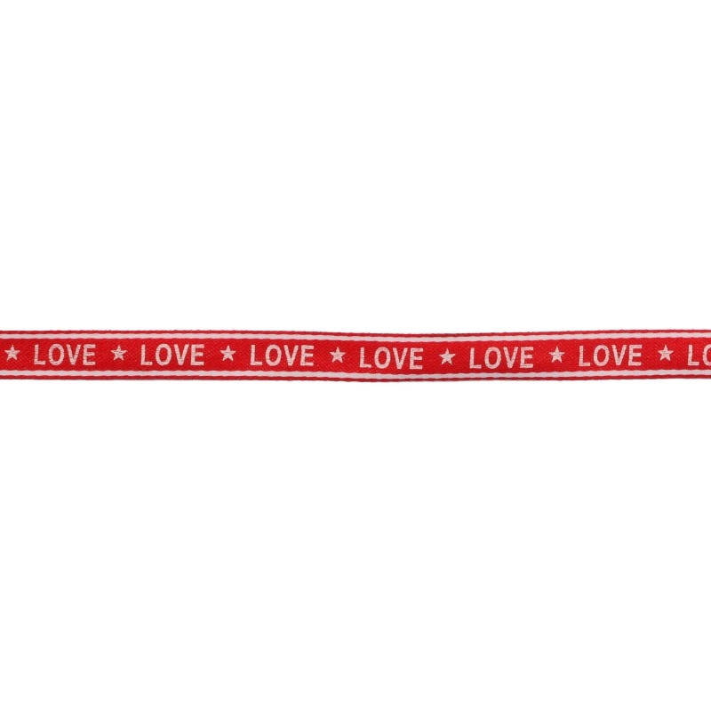Тесьма 1см сутаж/принт LOVE 43-45м/рул, цв: красный/принт белый