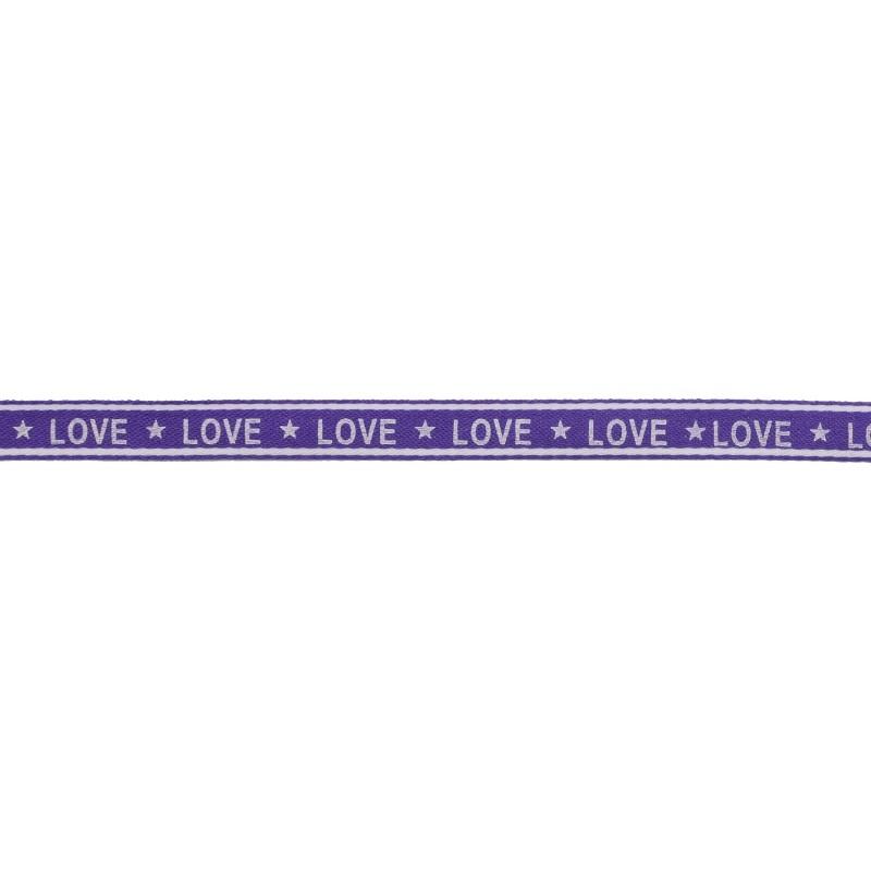 Тесьма 1см сутаж/принт LOVE 43-45м/рул, цв: фиолетовый/принт белый