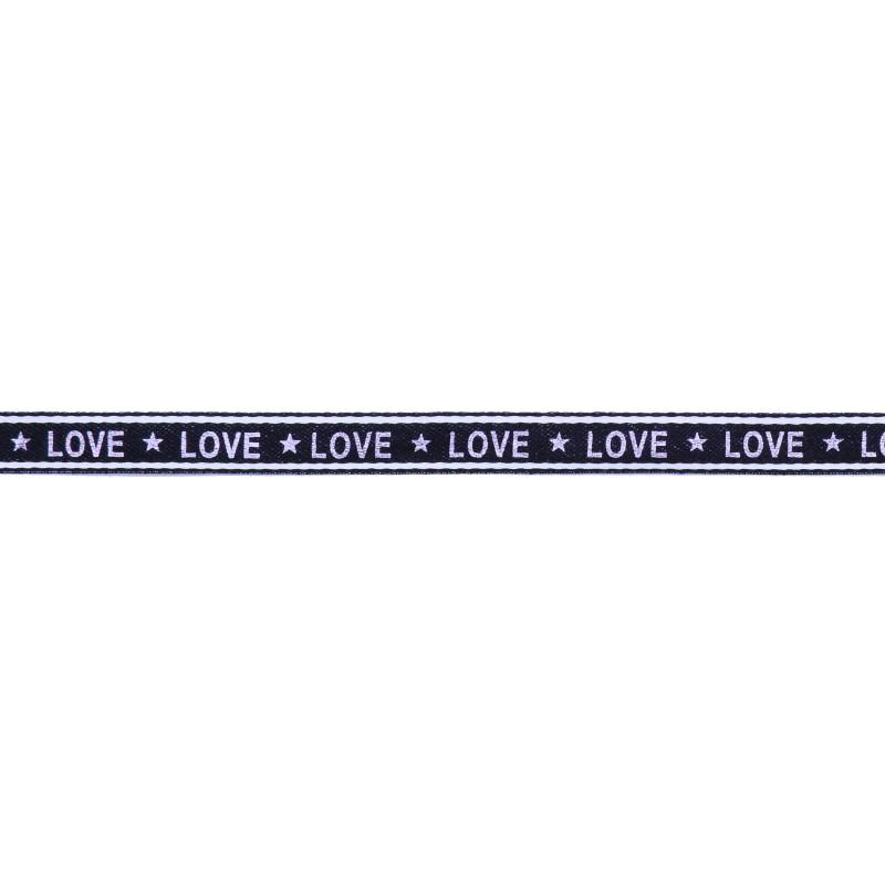 Тесьма 1см сутаж/принт LOVE 43-45м/рул, цв: т.синий/принт белый