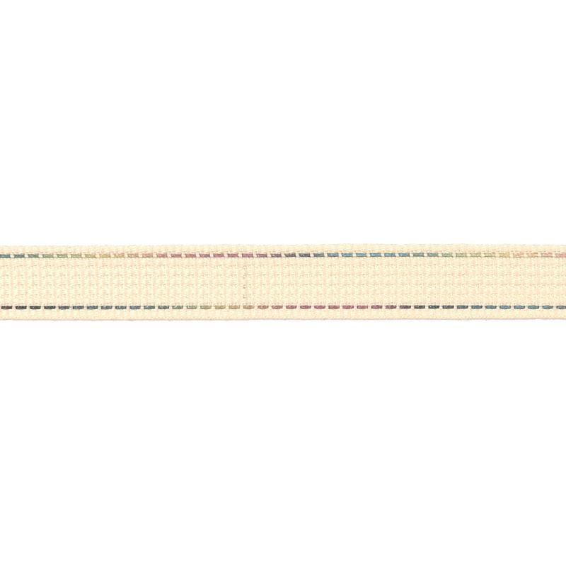 Тесьма полиэстер со светоотражающей голографической прострочкой 1см 43-45м/рулон,цв:св.бежевый