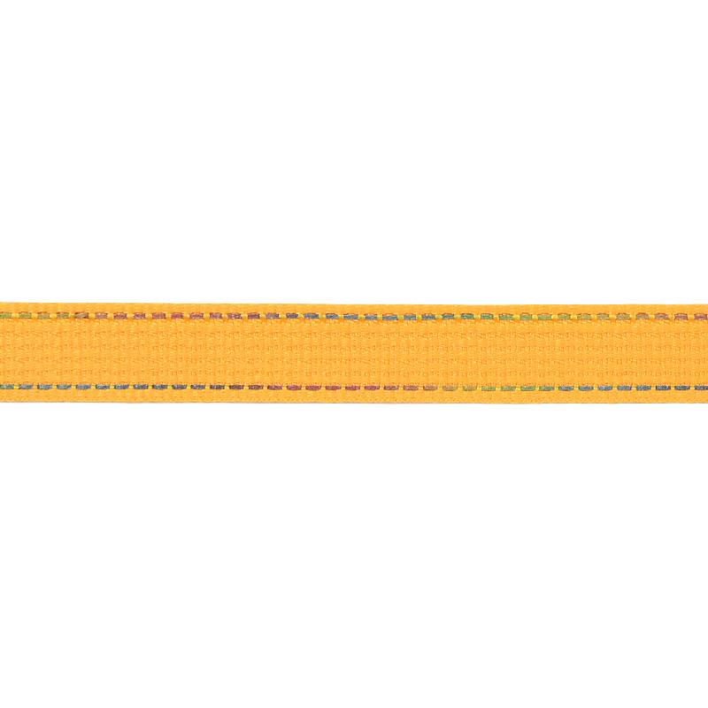 Тесьма полиэстер со светоотражающей голографической прострочкой 1см 43-45м/рулон,цв:желтый
