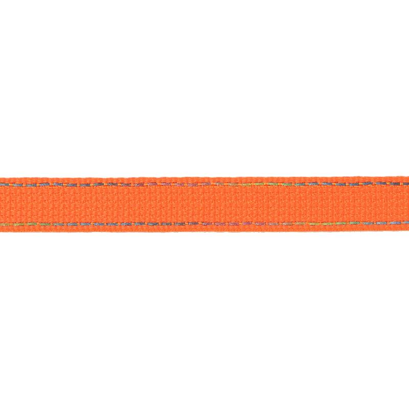 Тесьма полиэстер со светоотражающей голографической прострочкой 1см 43-45м/рулон,цв:оранжевый