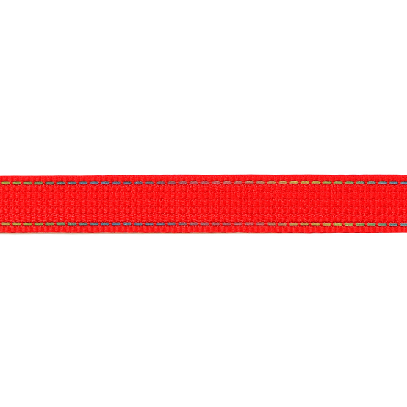 Тесьма полиэстер со светоотражающей голографической прострочкой 1см 43-45м/рулон,цв:красный
