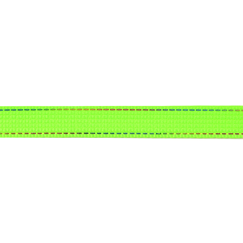 Тесьма полиэстер со светоотражающей голографической прострочкой 1см 43-45м/рулон,цв:салатовый неон