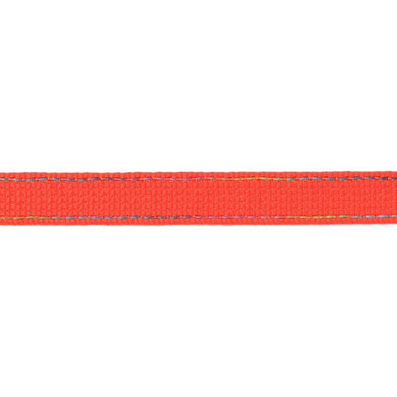 Тесьма полиэстер со светоотражающей голографической прострочкой 1см 43-45м/рулон,цв:оранжевый неон