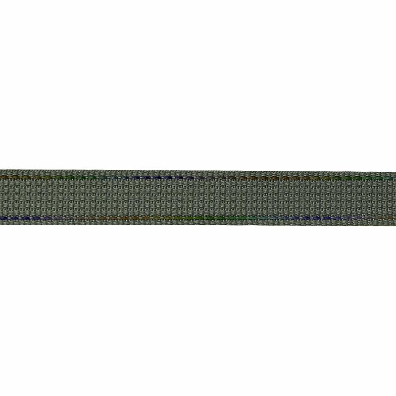 Тесьма полиэстер со светоотражающей голографической прострочкой 1см 43-45м/рулон,цв:хаки