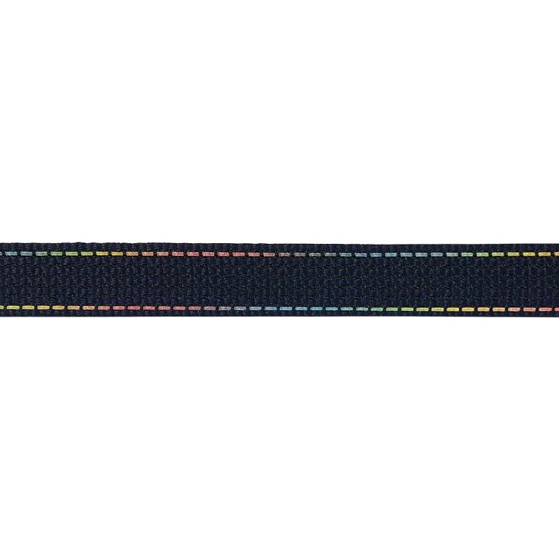 Тесьма полиэстер со светоотражающей голографической прострочкой 1см 43-45м/рулон,цв:т.синий