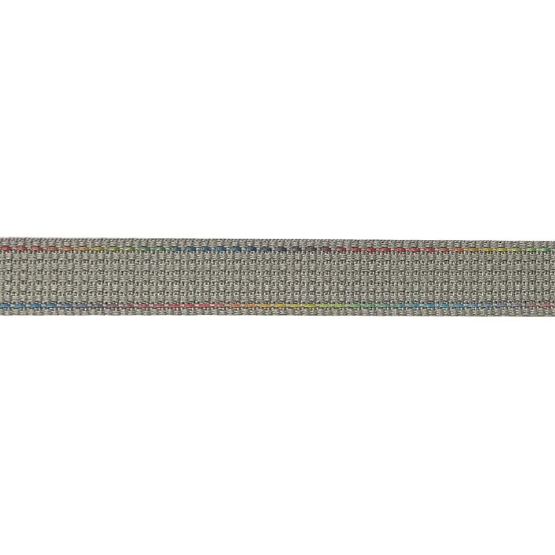 Тесьма полиэстер со светоотражающей голографической прострочкой 1см 43-45м/рулон,цв:св.серый