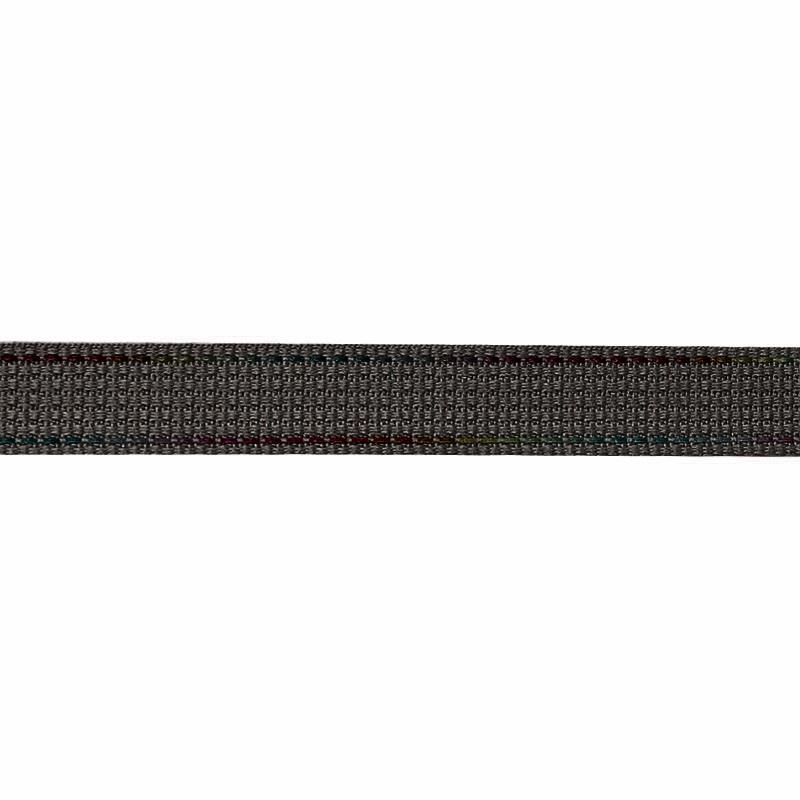 Тесьма полиэстер со светоотражающей голографической прострочкой 1см 43-45м/рулон,цв:серый