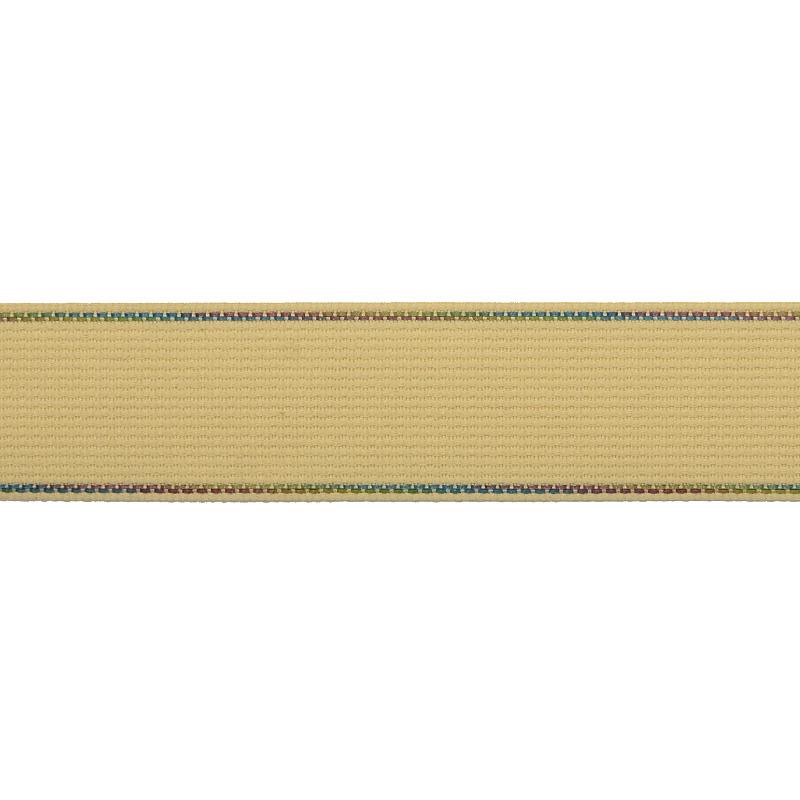 Тесьма полиэстер со светоотражающей голографической прострочкой 2,5 см 43-45м/рулон, цв:св.бежевый
