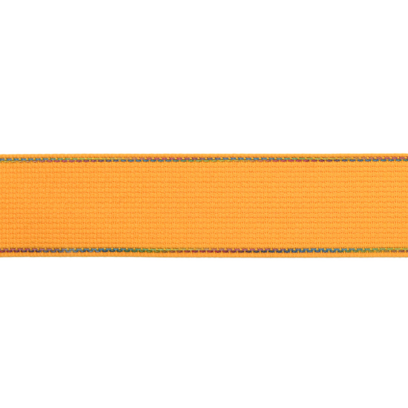 Тесьма полиэстер со светоотражающей голографической прострочкой 2,5 см 43-45м/рулон, цв:желтый