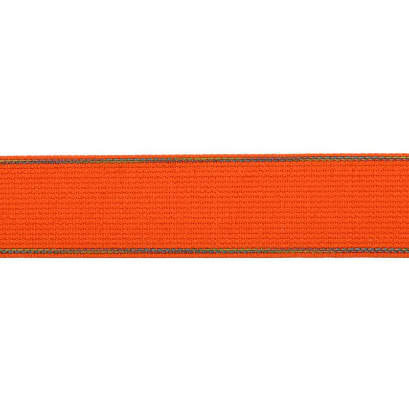 Тесьма полиэстер со светоотражающей голографической прострочкой 2,5 см 43-45м/рулон, цв:оранжевый