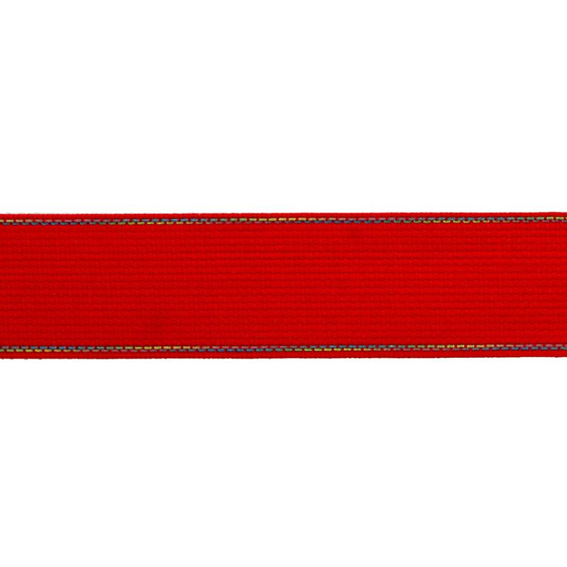 Тесьма полиэстер со светоотражающей голографической прострочкой 2,5см 43-45м/рулон, цв:красный