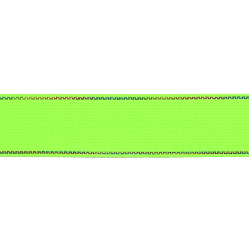 Тесьма полиэстер со светоотражающей голографической прострочкой 2,5см 43-45м/рулон, цв:салатовый неон
