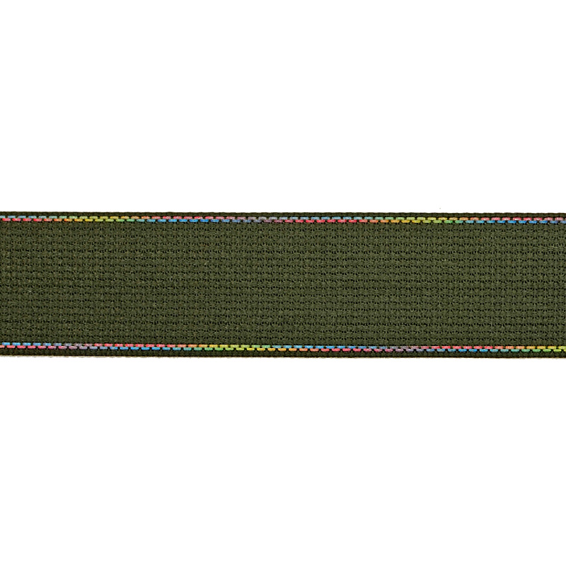 Тесьма полиэстер со светоотражающей голографической прострочкой 2,5см 43-45м/рулон, цв:хаки