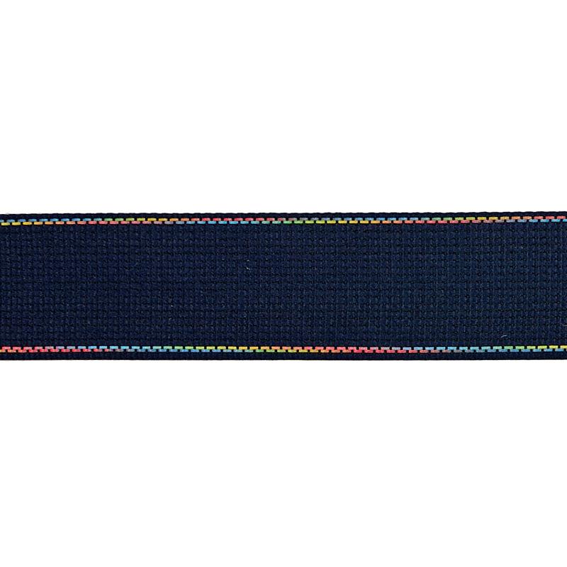 Тесьма полиэстер со светоотражающей голографической прострочкой 2,5см 43-45м/рулон, цв:т.синий