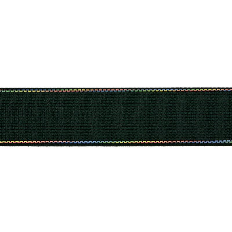 Тесьма полиэстер со светоотражающей голографической прострочкой 2,5см 43-45м/рулон, цв:изумруд