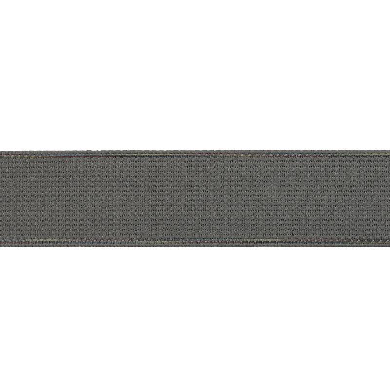 Тесьма полиэстер со светоотражающей голографической прострочкой 2,5см 43-45м/рулон, цв:св.серый