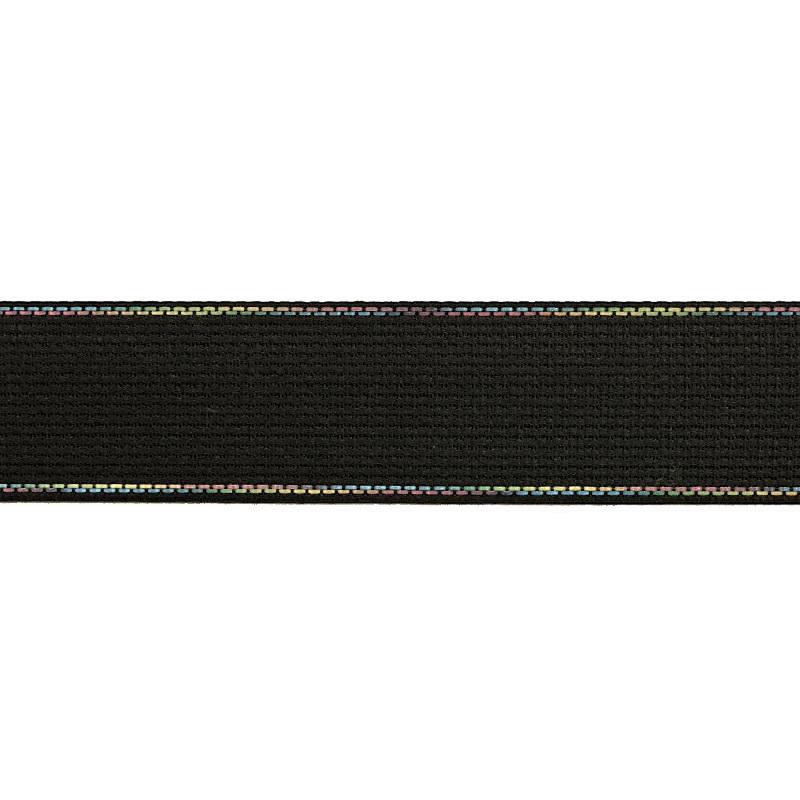 Тесьма полиэстер со светоотражающей голографической прострочкой 2,5см 43-45м/рулон, цв:серый