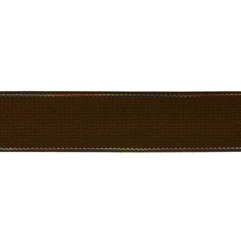 Тесьма полиэстер со светоотражающей голографической прострочкой 2,5см 43-45м/рулон, цв:коричневый