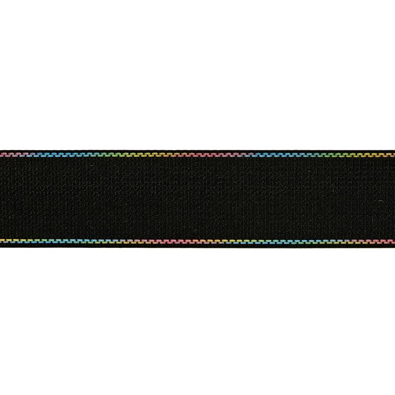 Тесьма полиэстер со светоотражающей голографической прострочкой 2,5см 43-45м/рулон, цв:черный