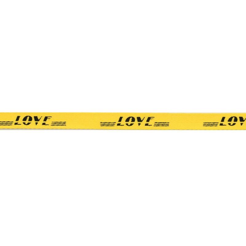Тесьма киперная полиэстер/принт LOVE 1см 43-45м/рулон, цв:желтый/принт черный