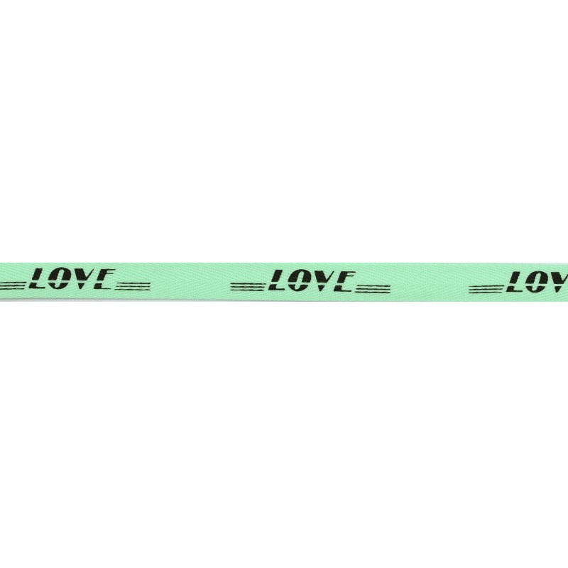 Тесьма киперная полиэстер/принт LOVE 1см 43-45м/рулон, цв:мятный/принт черный