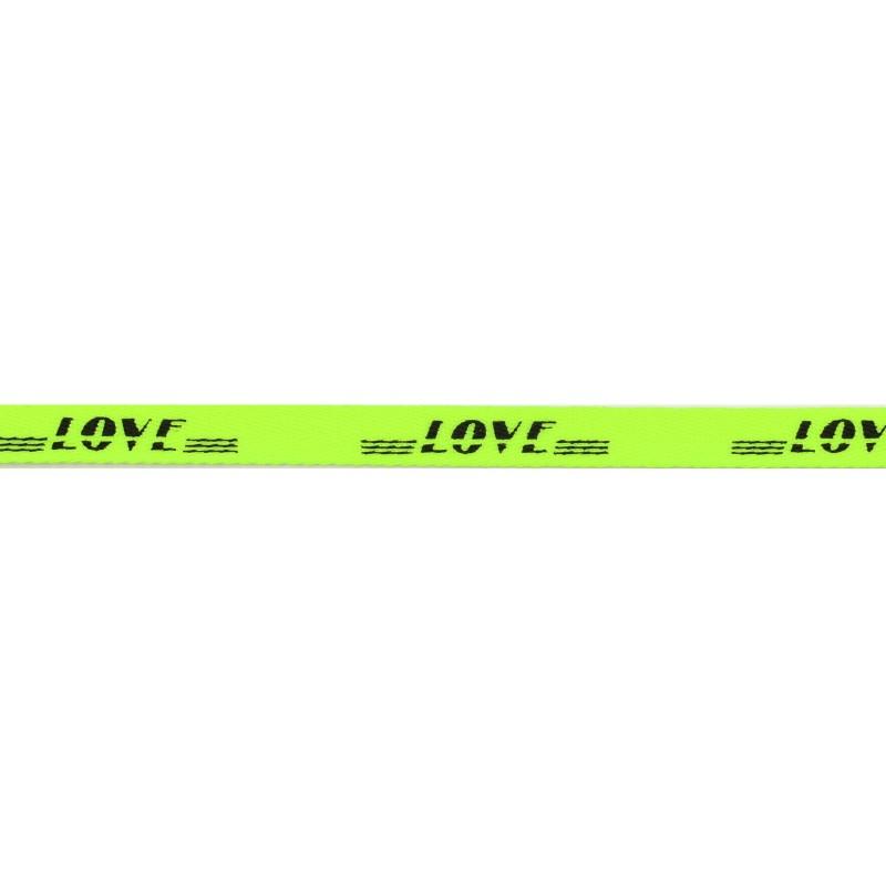 Тесьма киперная полиэстер/принт LOVE 1см 43-45м/рулон, цв:салатовый/принт черный