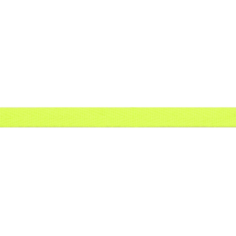Тесьма киперная хлопок 1см 68-70м/рулон,цв:лимонный неон