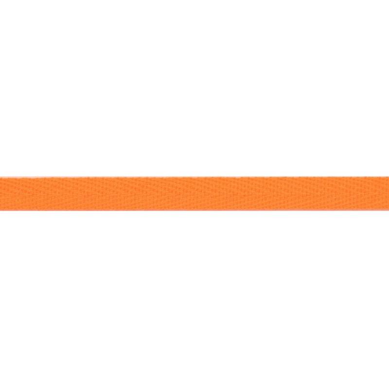 Тесьма киперная хлопок 1см 68-70м/рулон,цв:оранжевый неон