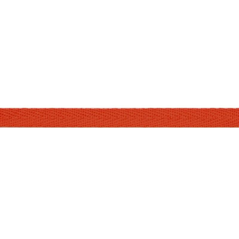 Тесьма киперная хлопок 1см 68-70м/рулон,цв:оранжево-красный