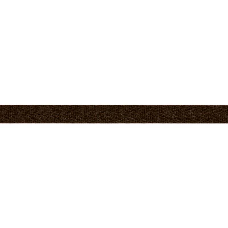 Тесьма киперная хлопок 1см 68-70м/рулон,цв:т.коричневый