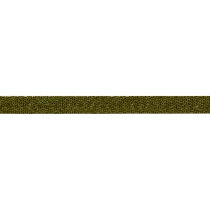 Тесьма киперная хлопок 1см 68-70м/рулон,цв:зеленый хаки