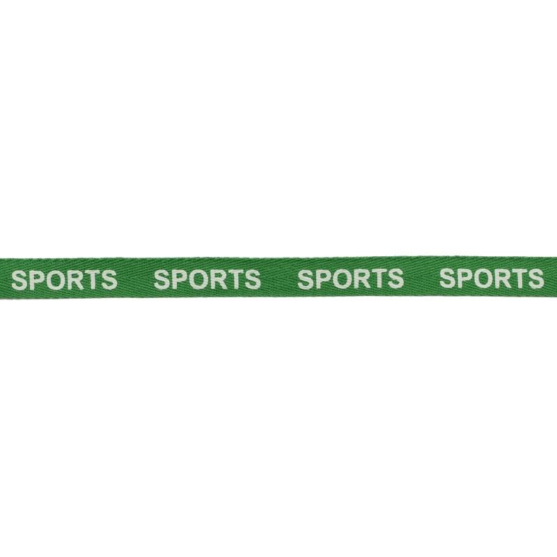 Тесьма 1см киперная/принт SPORTS 43-45м/рулон, цв: зеленый/принт белый