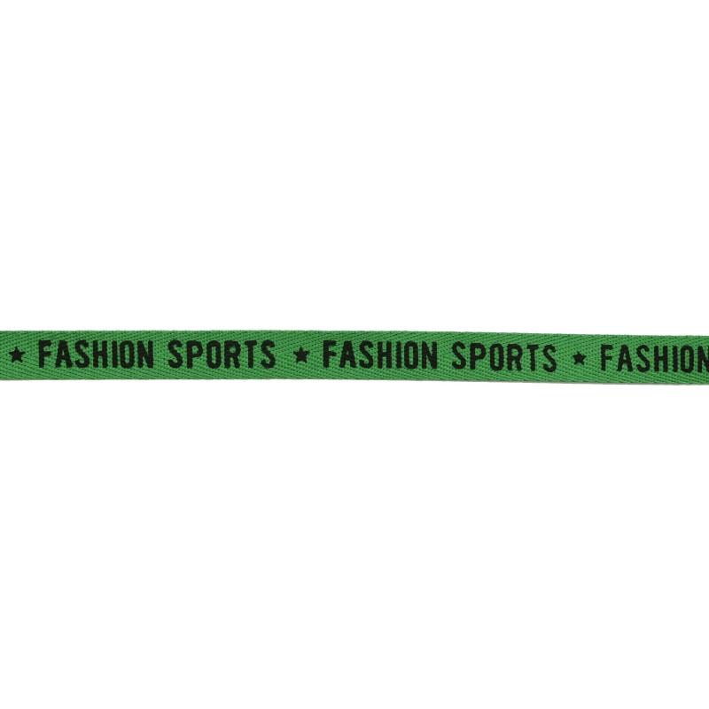 Тесьма 1см киперная/принт FASHION SPORTS 43-45м/рулон, цв: зеленый/принт черный